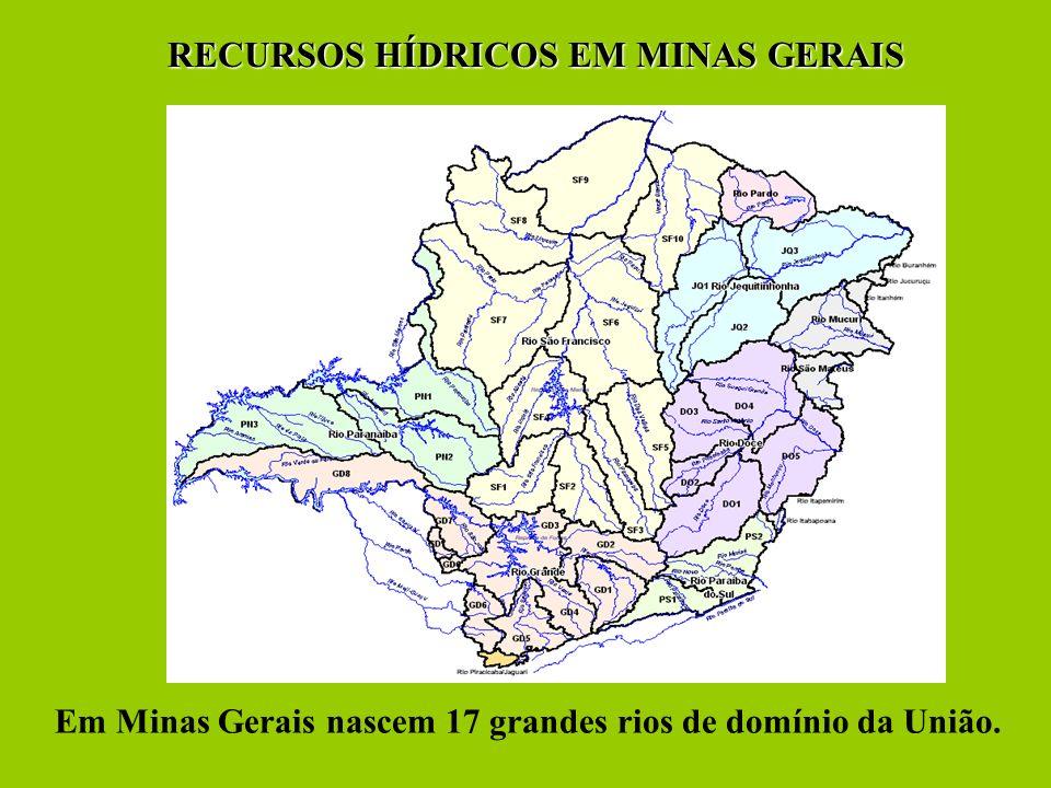 Em Minas Gerais nascem 17 grandes rios de domínio da União. RECURSOS HÍDRICOS EM MINAS GERAIS