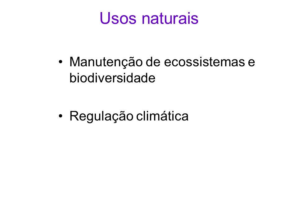 Usos naturais Manutenção de ecossistemas e biodiversidade Regulação climática