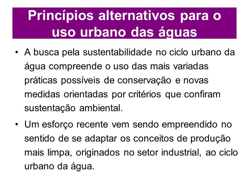 Princípios alternativos para o uso urbano das águas A busca pela sustentabilidade no ciclo urbano da água compreende o uso das mais variadas práticas