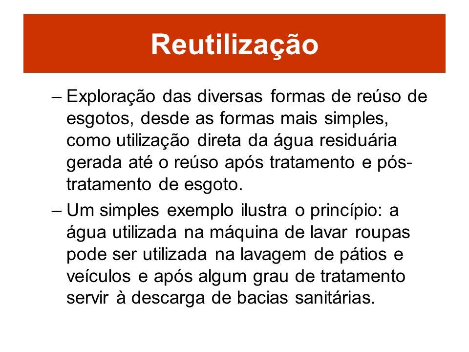 Reutilização –Exploração das diversas formas de reúso de esgotos, desde as formas mais simples, como utilização direta da água residuária gerada até o