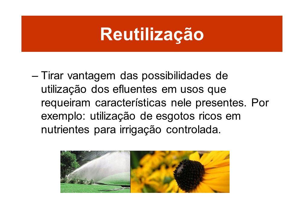 –Tirar vantagem das possibilidades de utilização dos efluentes em usos que requeiram características nele presentes. Por exemplo: utilização de esgoto