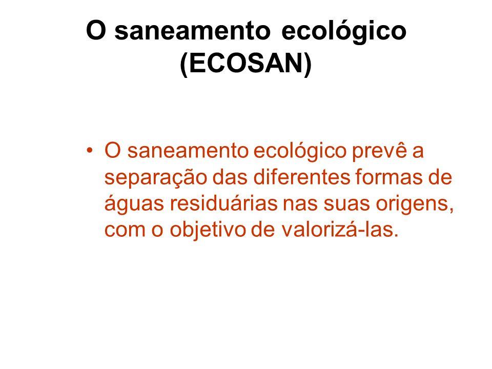 O saneamento ecológico (ECOSAN) O saneamento ecológico prevê a separação das diferentes formas de águas residuárias nas suas origens, com o objetivo d