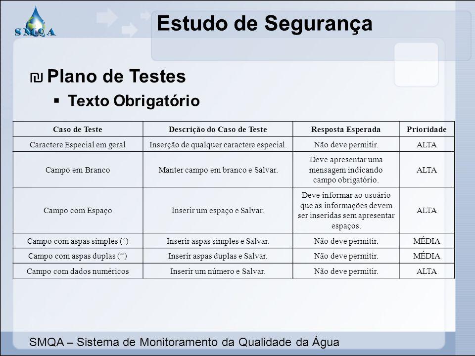 Estudo de Segurança SMQA – Sistema de Monitoramento da Qualidade da Água Plano de Testes Texto Obrigatório Caso de TesteDescrição do Caso de TesteResp