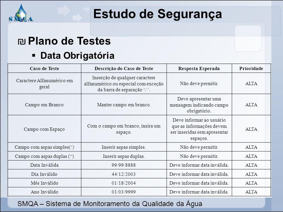 Estudo de Segurança SMQA – Sistema de Monitoramento da Qualidade da Água Plano de Testes Data Obrigatória Caso de TesteDescrição do Caso de TesteRespo