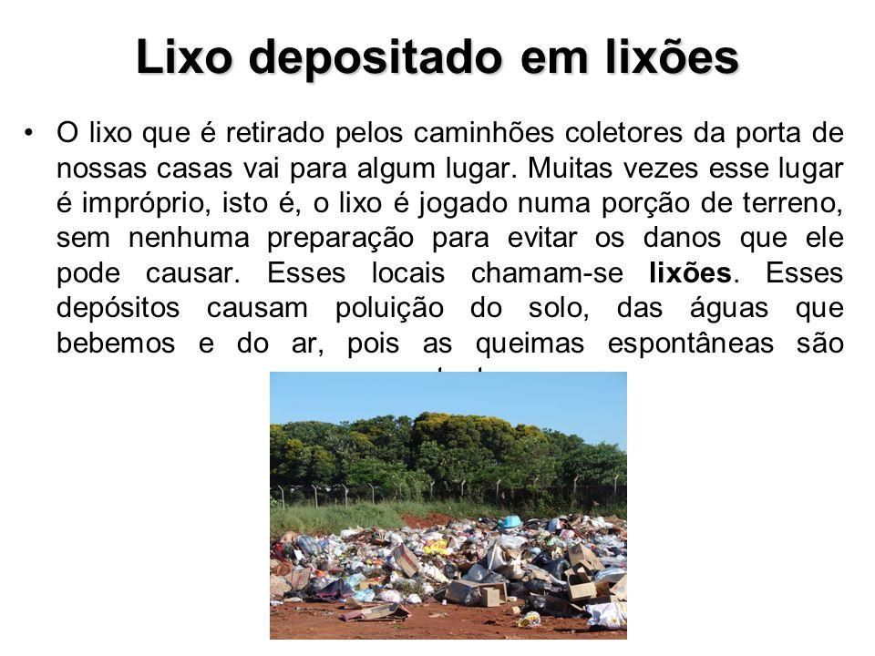 Lixo depositado em lixões O lixo que é retirado pelos caminhões coletores da porta de nossas casas vai para algum lugar.