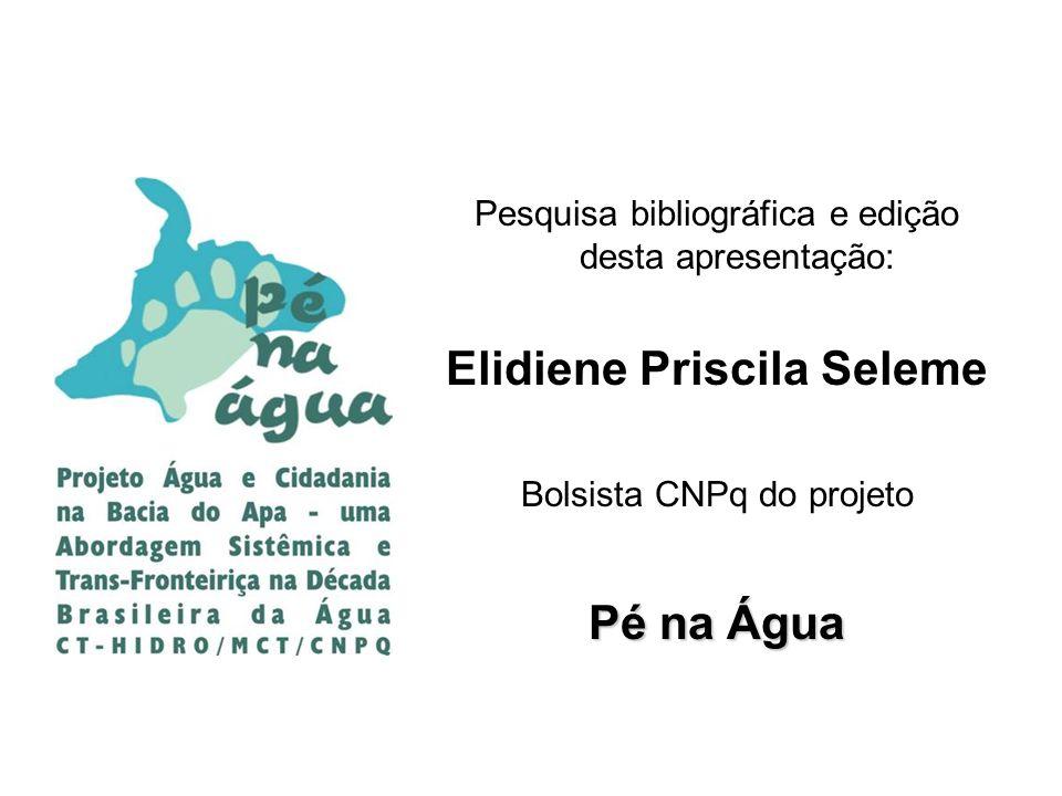 Pesquisa bibliográfica e edição desta apresentação: Elidiene Priscila Seleme Bolsista CNPq do projeto Pé na Água