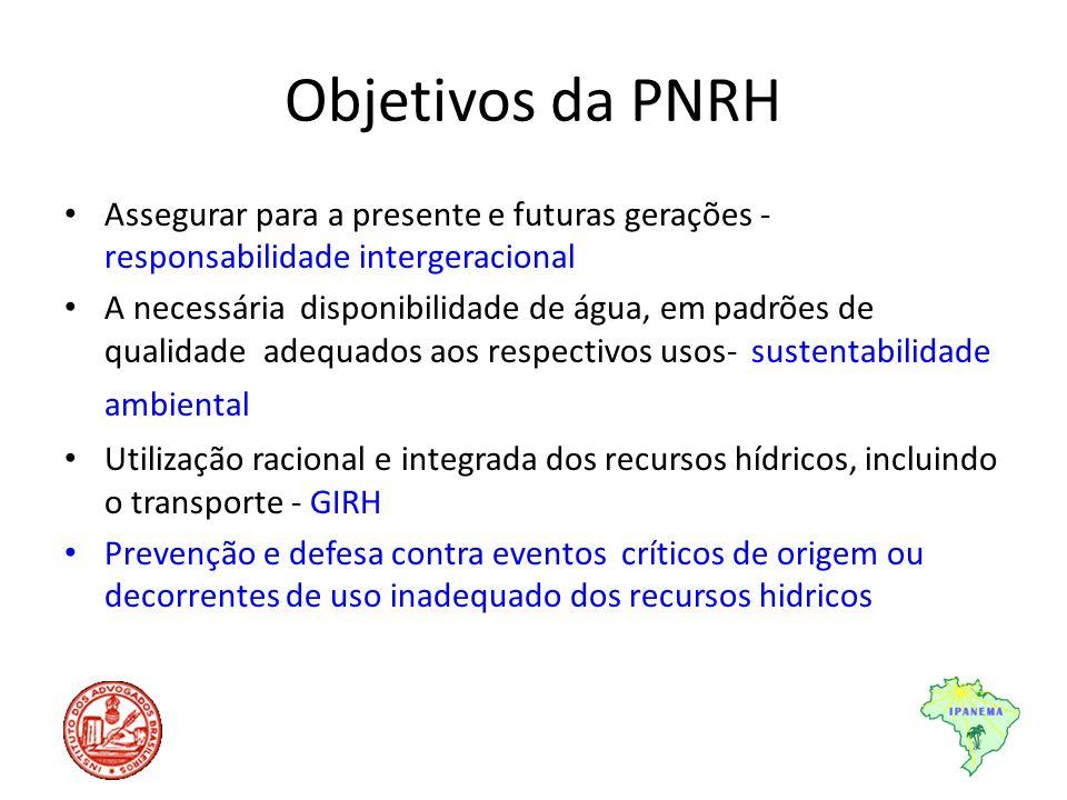 Objetivos da PNRH Assegurar para a presente e futuras gerações - responsabilidade intergeracional A necessária disponibilidade de água, em padrões de