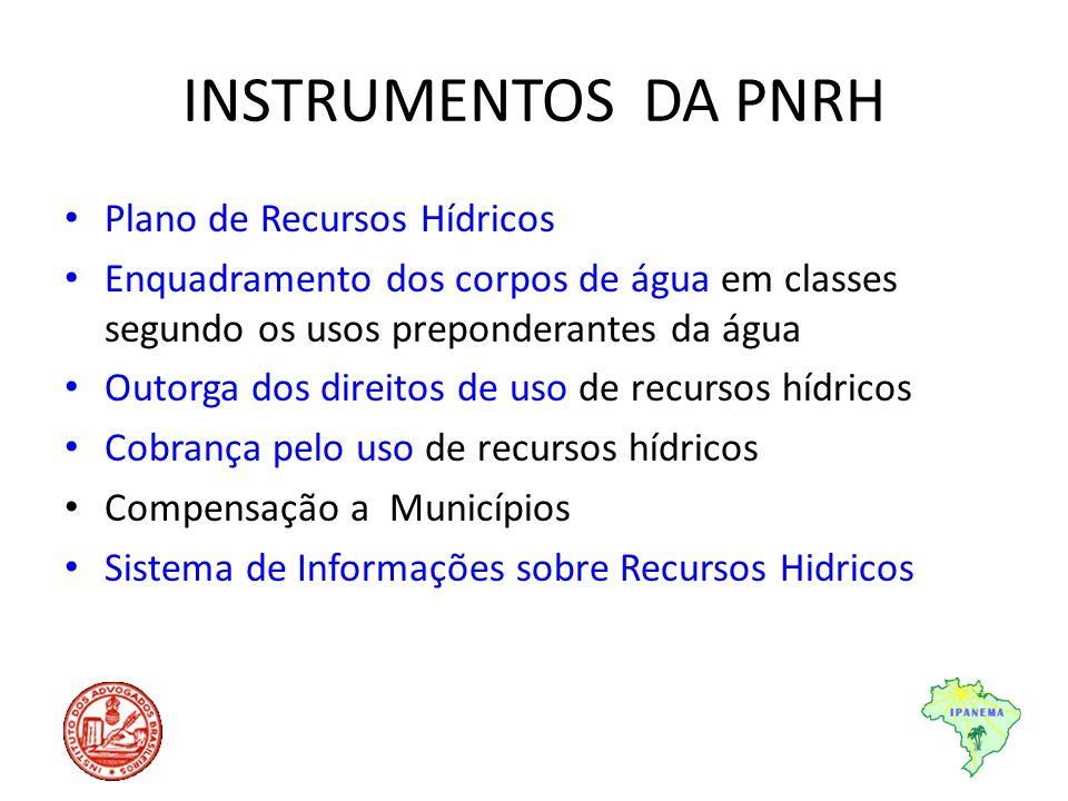 INSTRUMENTOS DA PNRH Plano de Recursos Hídricos Enquadramento dos corpos de água em classes segundo os usos preponderantes da água Outorga dos direito