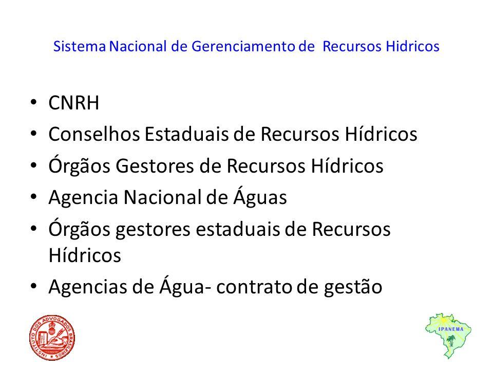 Sistema Nacional de Gerenciamento de Recursos Hidricos CNRH Conselhos Estaduais de Recursos Hídricos Órgãos Gestores de Recursos Hídricos Agencia Naci