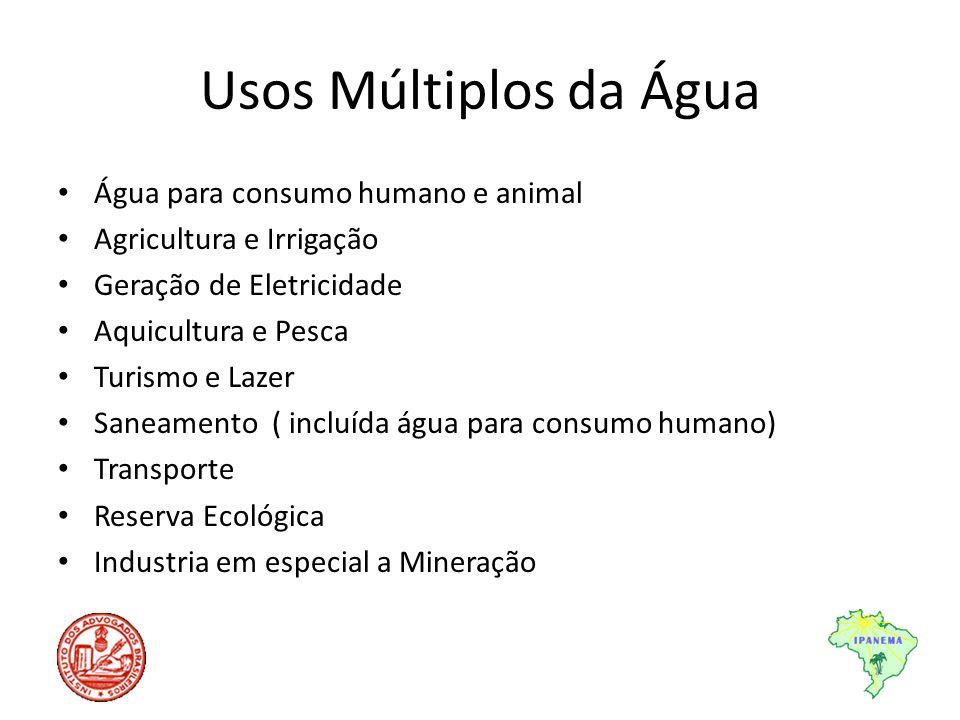 Usos Múltiplos da Água Água para consumo humano e animal Agricultura e Irrigação Geração de Eletricidade Aquicultura e Pesca Turismo e Lazer Saneament