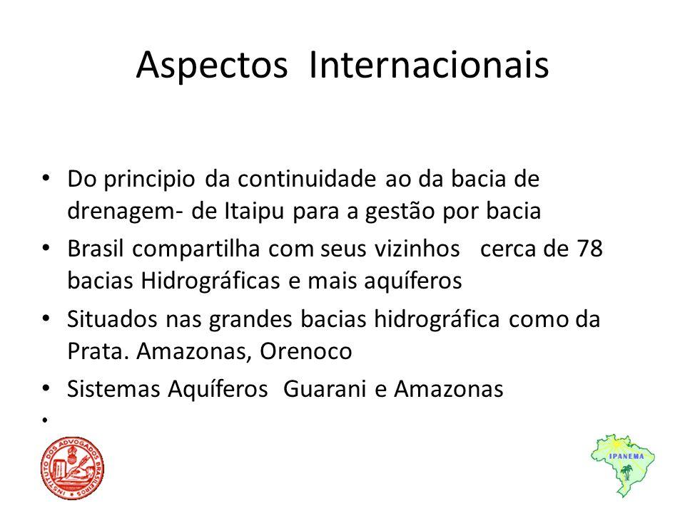 Aspectos Internacionais Do principio da continuidade ao da bacia de drenagem- de Itaipu para a gestão por bacia Brasil compartilha com seus vizinhos c