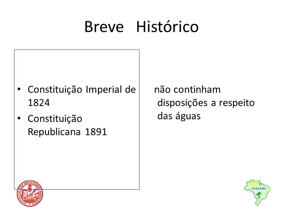 Breve Histórico Constituição Imperial de 1824 Constituição Republicana 1891 não continham disposições a respeito das águas