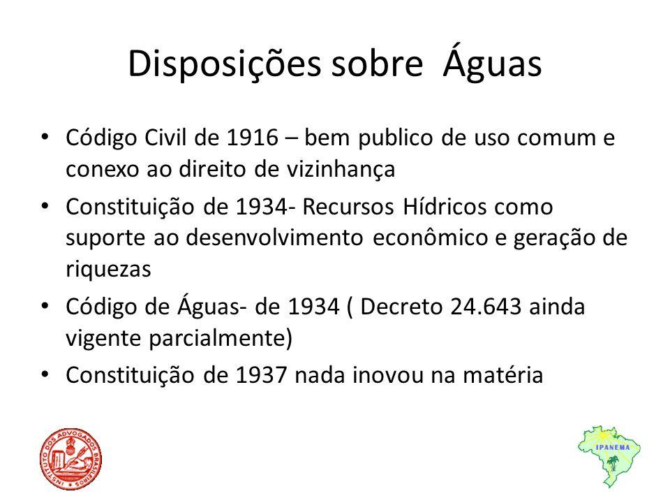 Disposições sobre Águas Código Civil de 1916 – bem publico de uso comum e conexo ao direito de vizinhança Constituição de 1934- Recursos Hídricos como
