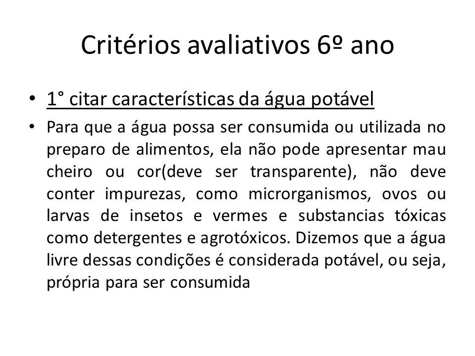 Critérios avaliativos 6º ano 1° citar características da água potável Para que a água possa ser consumida ou utilizada no preparo de alimentos, ela nã