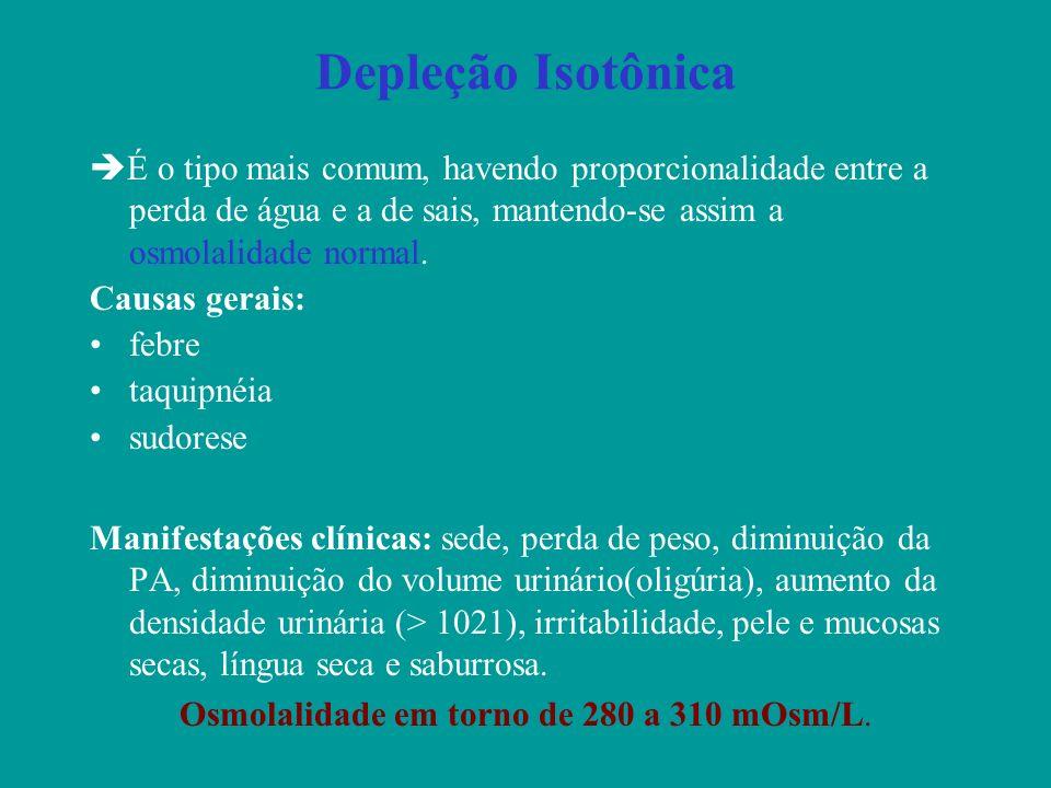 Depleção Isotônica É o tipo mais comum, havendo proporcionalidade entre a perda de água e a de sais, mantendo-se assim a osmolalidade normal. Causas g