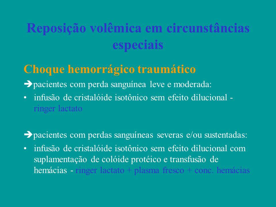 Reposição volêmica em circunstâncias especiais Choque hemorrágico traumático pacientes com perda sanguínea leve e moderada: infusão de cristalóide iso