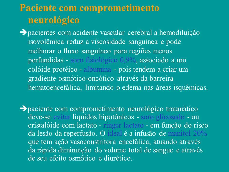 Paciente com comprometimento neurológico pacientes com acidente vascular cerebral a hemodiluição isovolêmica reduz a viscosidade sanguínea e pode melh