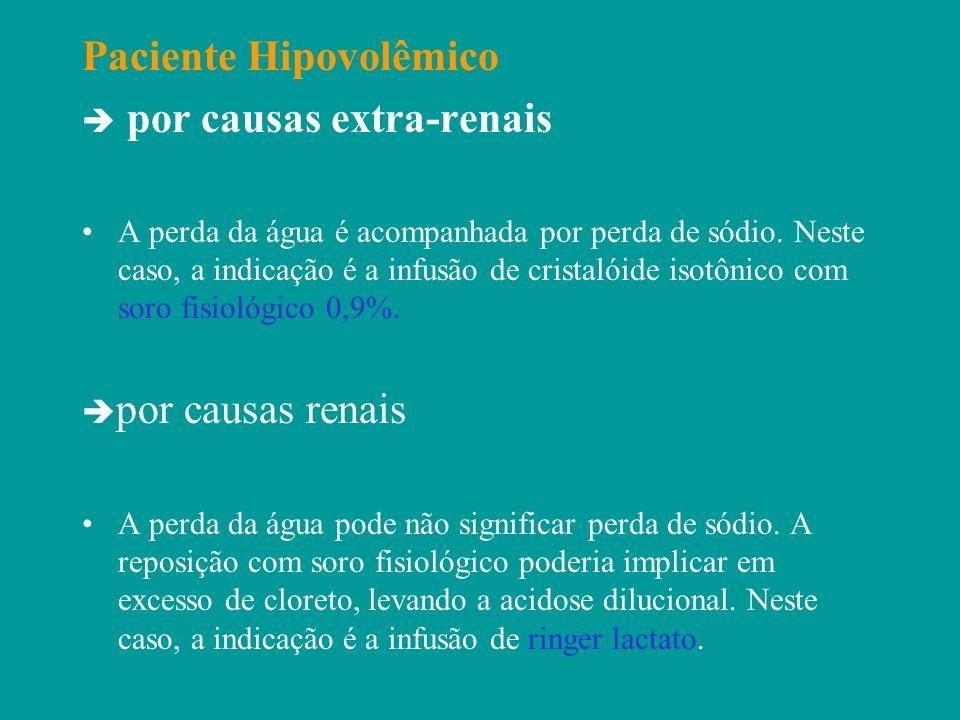 Paciente Hipovolêmico por causas extra-renais A perda da água é acompanhada por perda de sódio. Neste caso, a indicação é a infusão de cristalóide iso