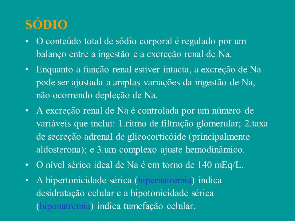 SÓDIO O conteúdo total de sódio corporal é regulado por um balanço entre a ingestão e a excreção renal de Na. Enquanto a função renal estiver intacta,