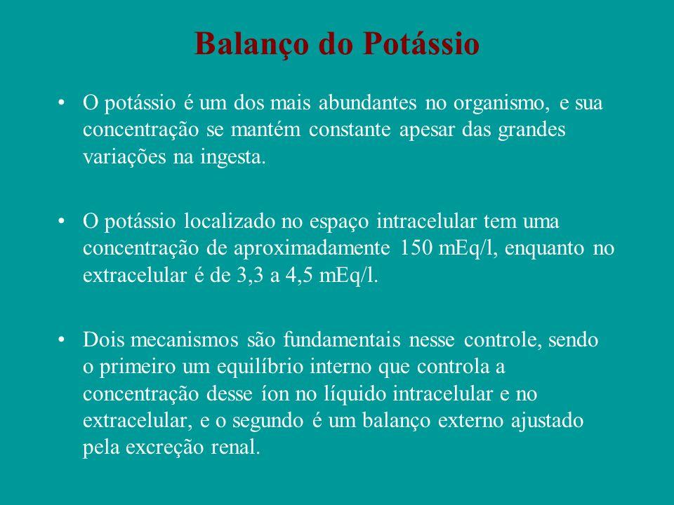 Balanço do Potássio O potássio é um dos mais abundantes no organismo, e sua concentração se mantém constante apesar das grandes variações na ingesta.