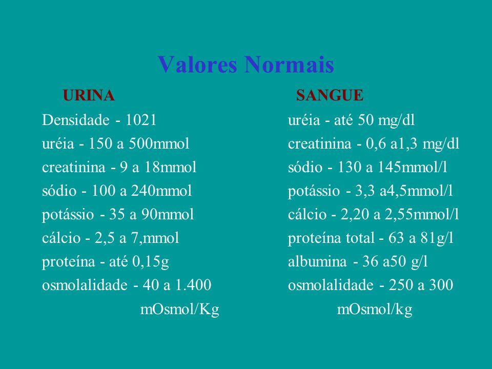 Valores Normais Densidade - 1021uréia - até 50 mg/dl uréia - 150 a 500mmolcreatinina - 0,6 a1,3 mg/dl creatinina - 9 a 18mmolsódio - 130 a 145mmol/l s