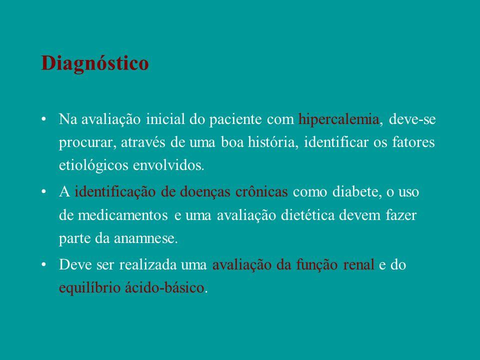 Diagnóstico Na avaliação inicial do paciente com hipercalemia, deve-se procurar, através de uma boa história, identificar os fatores etiológicos envol