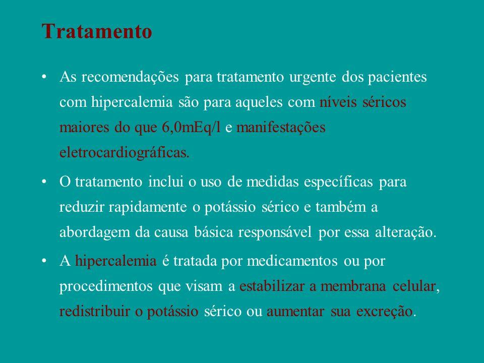 Tratamento As recomendações para tratamento urgente dos pacientes com hipercalemia são para aqueles com níveis séricos maiores do que 6,0mEq/l e manif