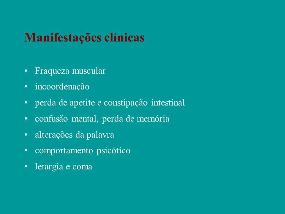 Manifestações clínicas Fraqueza muscular incoordenação perda de apetite e constipação intestinal confusão mental, perda de memória alterações da palav