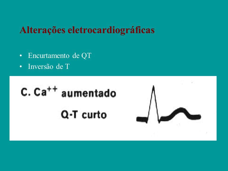 Alterações eletrocardiográficas Encurtamento de QT Inversão de T