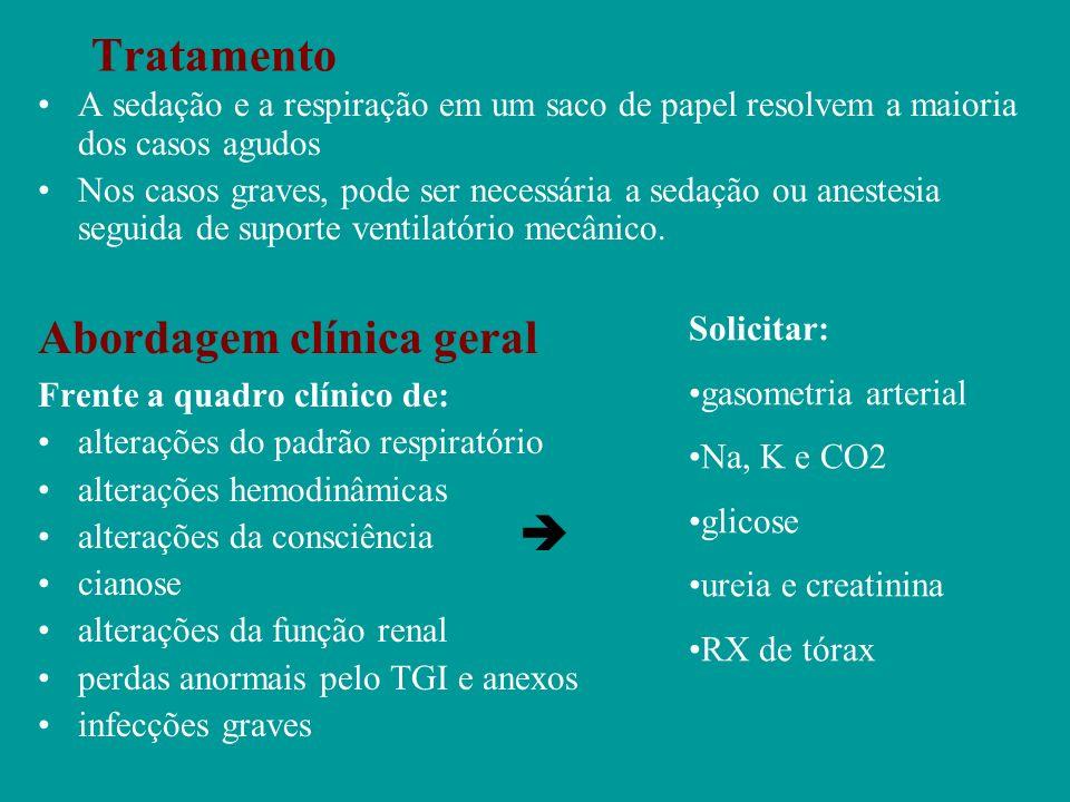 Tratamento A sedação e a respiração em um saco de papel resolvem a maioria dos casos agudos Nos casos graves, pode ser necessária a sedação ou anestes