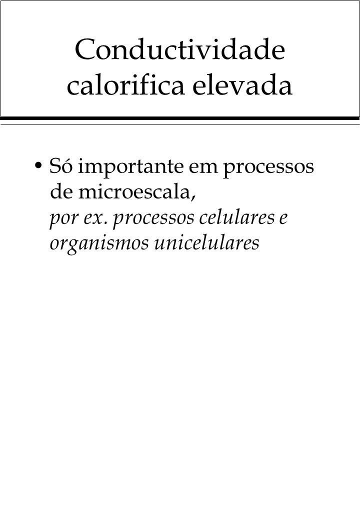 Conductividade calorifica elevada Só importante em processos de microescala, por ex. processos celulares e organismos unicelulares