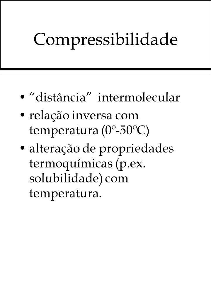 Compressibilidade distância intermolecular relação inversa com temperatura (0º-50ºC) alteração de propriedades termoquímicas (p.ex. solubilidade) com