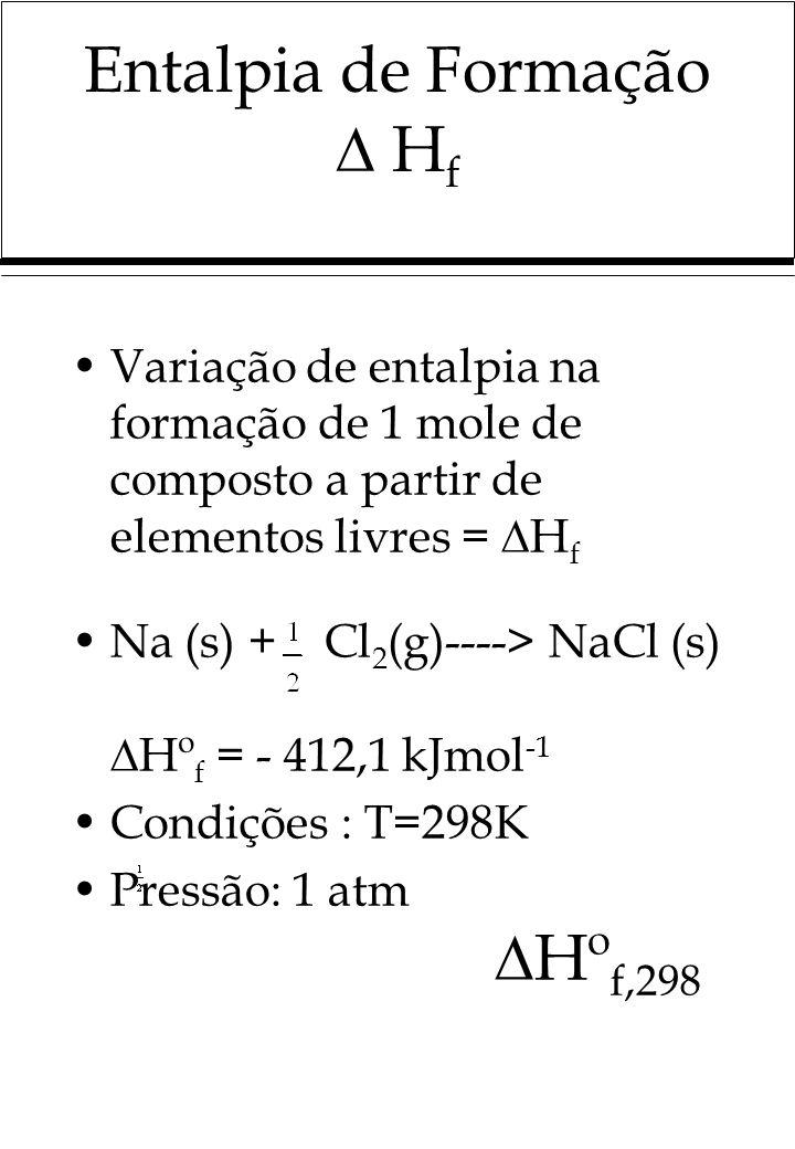 Entalpia de Formação H f Variação de entalpia na formação de 1 mole de composto a partir de elementos livres = H f Na (s) + Cl 2 (g)----> NaCl (s) Hº f = - 412,1 kJmol -1 Condições : T=298K Pressão: 1 atm Hº f,298
