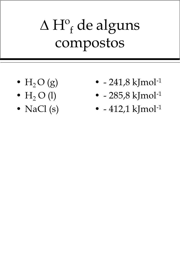 Hº f de alguns compostos H 2 O (g) H 2 O (l) NaCl (s) - 241,8 kJmol -1 - 285,8 kJmol -1 - 412,1 kJmol -1