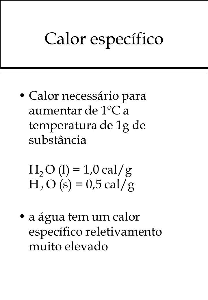 Calor específico Calor necessário para aumentar de 1ºC a temperatura de 1g de substância H 2 O (l) = 1,0 cal/g H 2 O (s) = 0,5 cal/g a água tem um calor específico reletivamento muito elevado