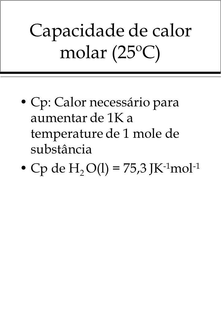 Capacidade de calor molar (25ºC) Cp: Calor necessário para aumentar de 1K a temperature de 1 mole de substância Cp de H 2 O(l) = 75,3 JK -1 mol -1