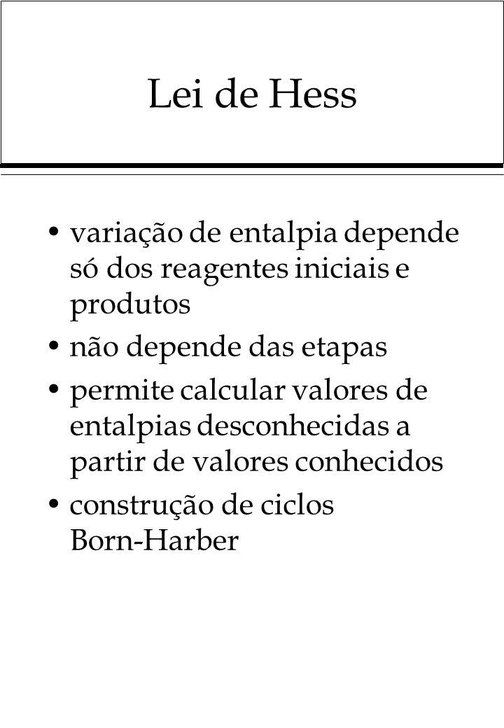 Lei de Hess variação de entalpia depende só dos reagentes iniciais e produtos não depende das etapas permite calcular valores de entalpias desconhecidas a partir de valores conhecidos construção de ciclos Born-Harber