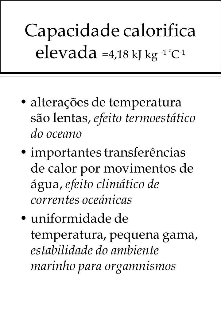 Capacidade calorifica elevada =4,18 kJ kg -1 º C -1 alterações de temperatura são lentas, efeito termoestático do oceano importantes transferências de calor por movimentos de água, efeito climático de correntes oceánicas uniformidade de temperatura, pequena gama, estabilidade do ambiente marinho para orgamnismos