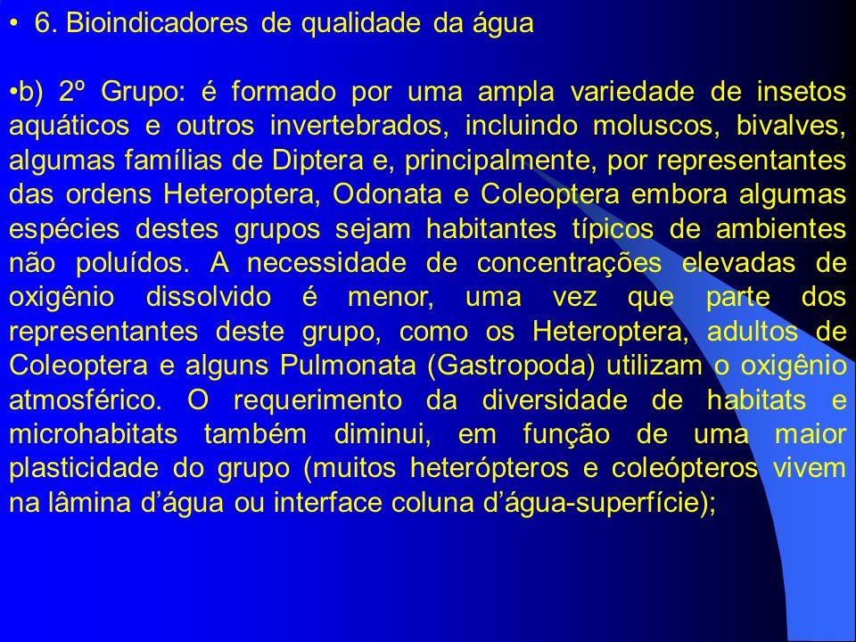 6. Bioindicadores de qualidade da água b) 2º Grupo: é formado por uma ampla variedade de insetos aquáticos e outros invertebrados, incluindo moluscos,