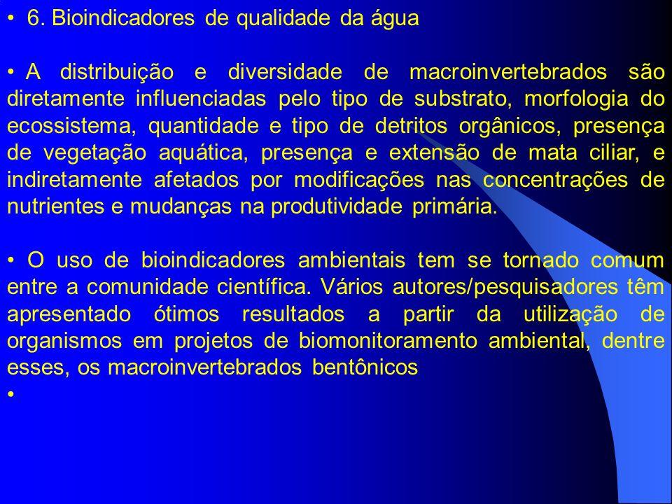 6. Bioindicadores de qualidade da água A distribuição e diversidade de macroinvertebrados são diretamente influenciadas pelo tipo de substrato, morfol