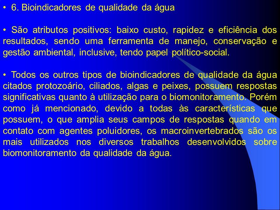 6. Bioindicadores de qualidade da água São atributos positivos: baixo custo, rapidez e eficiência dos resultados, sendo uma ferramenta de manejo, cons