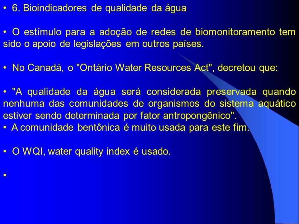 6. Bioindicadores de qualidade da água O estímulo para a adoção de redes de biomonitoramento tem sido o apoio de legislações em outros países. No Cana