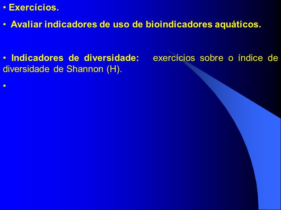 Exercícios. Avaliar indicadores de uso de bioindicadores aquáticos. Indicadores de diversidade: exercícios sobre o índice de diversidade de Shannon (H
