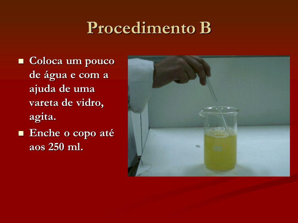 Procedimento B Coloca um pouco de água e com a ajuda de uma vareta de vidro, agita. Coloca um pouco de água e com a ajuda de uma vareta de vidro, agit