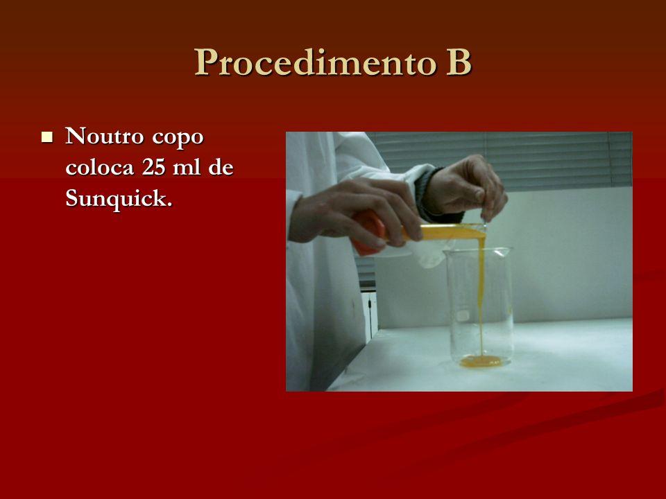 Procedimento B Noutro copo coloca 25 ml de Sunquick. Noutro copo coloca 25 ml de Sunquick.