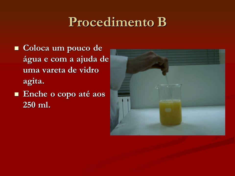 Procedimento B Coloca um pouco de água e com a ajuda de uma vareta de vidro agita. Coloca um pouco de água e com a ajuda de uma vareta de vidro agita.
