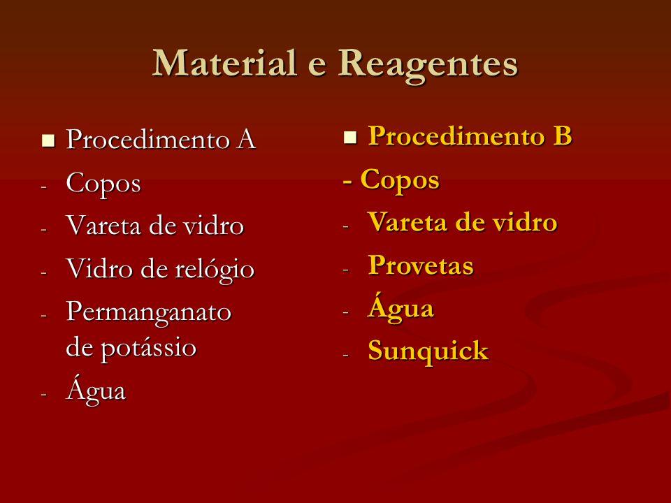 Procedimento A Procedimento A - Copos - Vareta de vidro - Vidro de relógio - Permanganato de potássio - Água Procedimento B Procedimento B - Copos - V