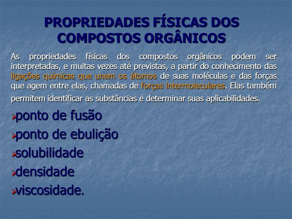 PROPRIEDADES FÍSICAS DOS COMPOSTOS ORGÂNICOS As propriedades físicas dos compostos orgânicos podem ser interpretadas, e muitas vezes até previstas, a