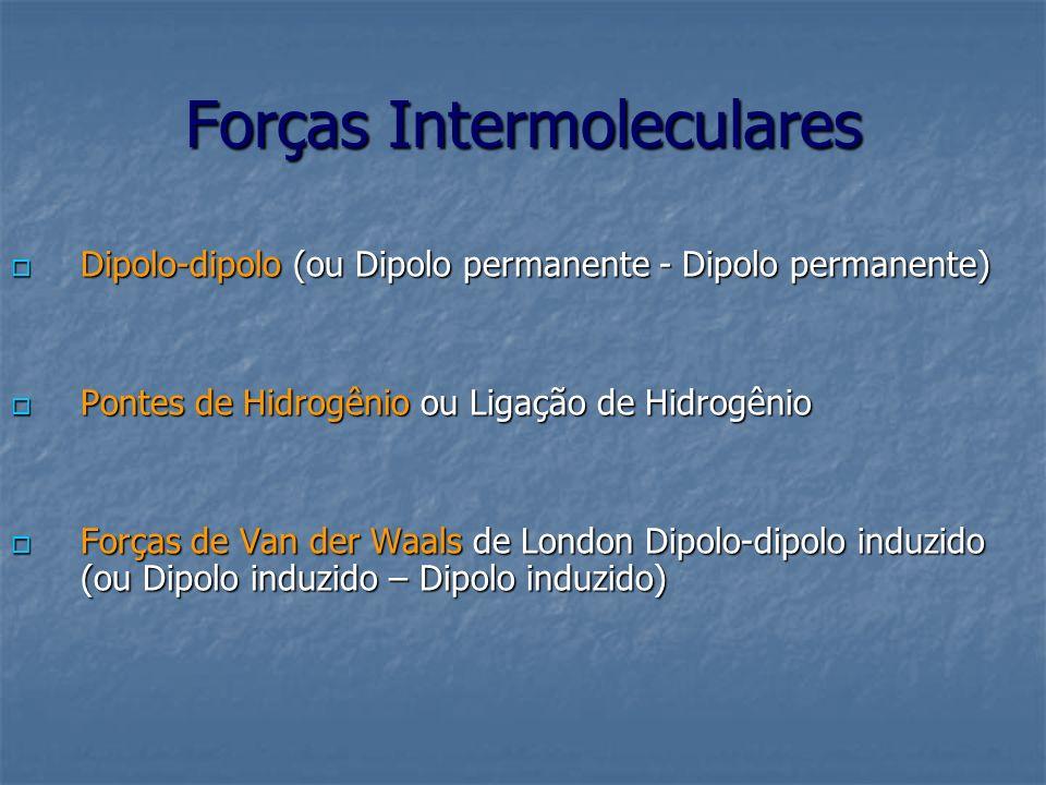 Forças Intermoleculares Dipolo-dipolo (ou Dipolo permanente - Dipolo permanente) Dipolo-dipolo (ou Dipolo permanente - Dipolo permanente) Pontes de Hi