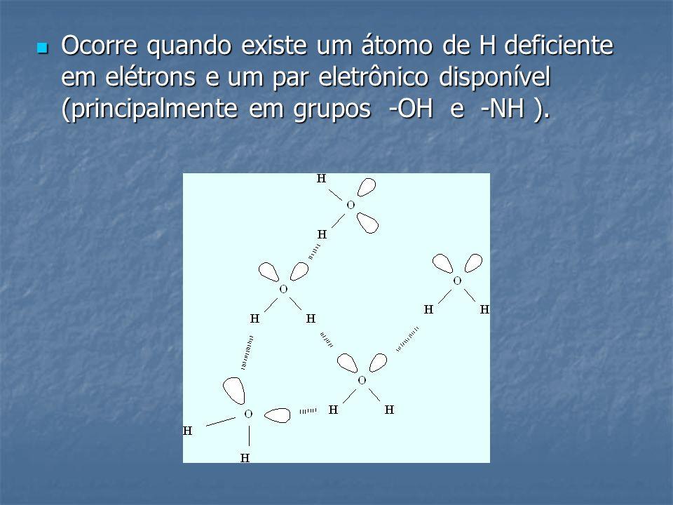 Ocorre quando existe um átomo de H deficiente em elétrons e um par eletrônico disponível (principalmente em grupos -OH e -NH ). Ocorre quando existe u